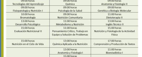 Programación exámenes extraordinarios Licenciatura en Nutrición